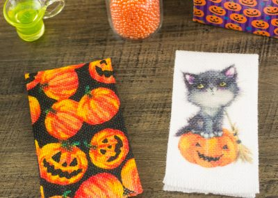 Halloween Tea Towels – Little Black Kitty and Pumpkin Print – Set of 2