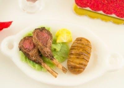 Lamb Chop Dinner with Hasselback Potato