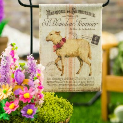 Dollhouse Miniature Lamb Easter Garden Flag