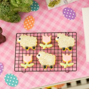 Lambs and Tulips Easter Cookies – Half Dozen – 1:12 Dollhouse Miniature
