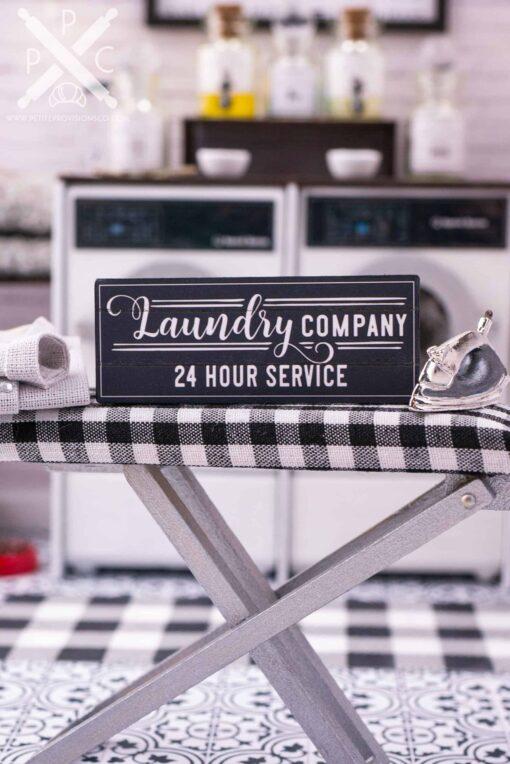Dollhouse Miniature Farmhouse Laundry Company 24 Hour Service Sign - 1:12 Dollhouse Miniature Laundry Room Sign