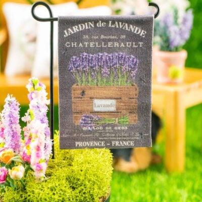 Dollhouse Miniature French Lavender Chalkboard Spring Garden Flag