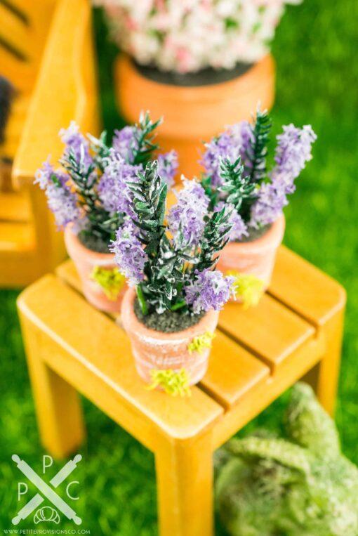 Dollhouse Miniature Lavender in Terra Cotta Pot