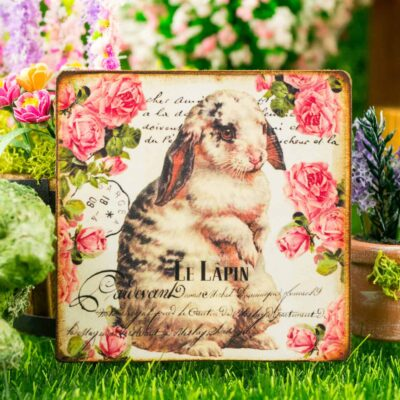 Dollhouse Miniature Le Lapin Easter Sign with Roses and Rabbit