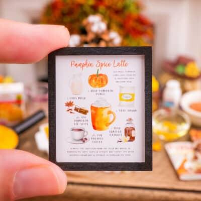 Dollhouse Miniature Pumpkin Spice Latte Framed Art Print