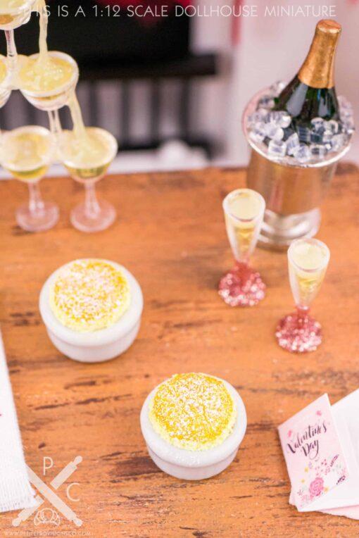 Dollhouse Miniature Lemon Soufflé for Two - 1:12 Dollhouse Miniature Dessert