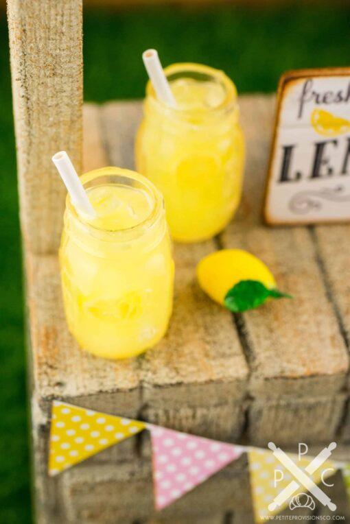 Dollhouse Miniature Lemonade for Two in Mason Jars - 1:12 Dollhouse Miniature Drink Set