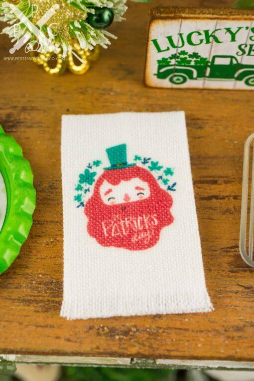 Dollhouse Miniature St. Patrick's Day Leprechaun Tea Towel