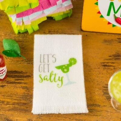 Dollhouse Miniature Let's Get Salty Margarita Tea Towel