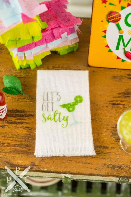Dollhouse Miniature Let's Get Salty Margarita Tea Towel