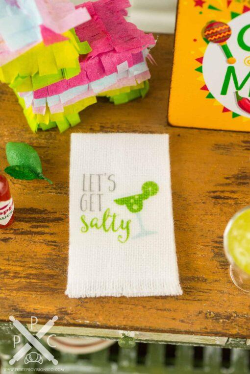 Dollhouse Miniature Frozen Margarita Set with Let's Get Salty Tea Towel