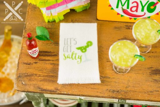 Dollhouse Miniature Frozen Margarita Set with Let's Get Salty Tea Towel