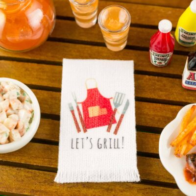 Dollhouse Miniature Let's Grill Tea Towel - 1:12 Dollhouse Miniature Kitchen Towel