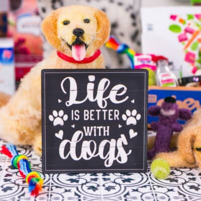 Dollhouse Miniature Life is Better with Dogs Sign - 1:12 Dollhouse Miniature Sign - Farmhouse Decor