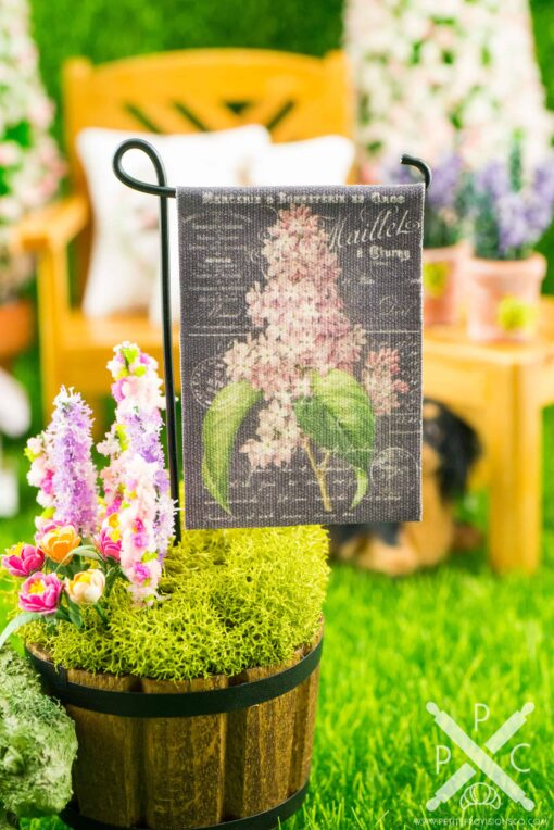 Dollhouse Miniature French Lilac Chalkboard Spring Garden Flag