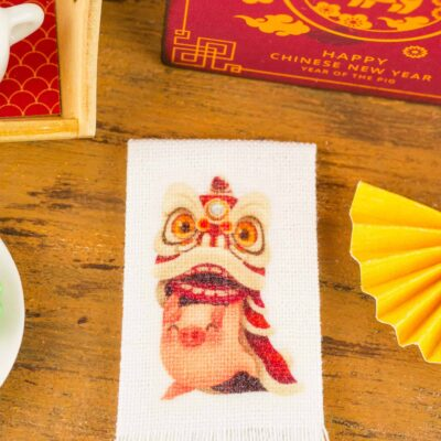 Dollhouse Miniature Lion Dance Year of the Pig Chinese New Year Tea Towel