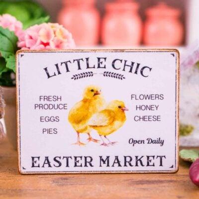 Dollhouse Miniature Little Chic Easter Market Sign - Decorative Easter Sign - 1:12 Dollhouse Miniature Easter Sign