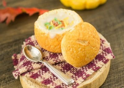 Loaded Baked Potato Soup in a Bread Bowl
