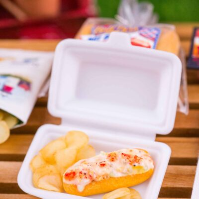 Dollhouse Miniature Lobster Roll and Potato Chips in Takeout Container - 1:12 Dollhouse Miniature Lobster Roll Set