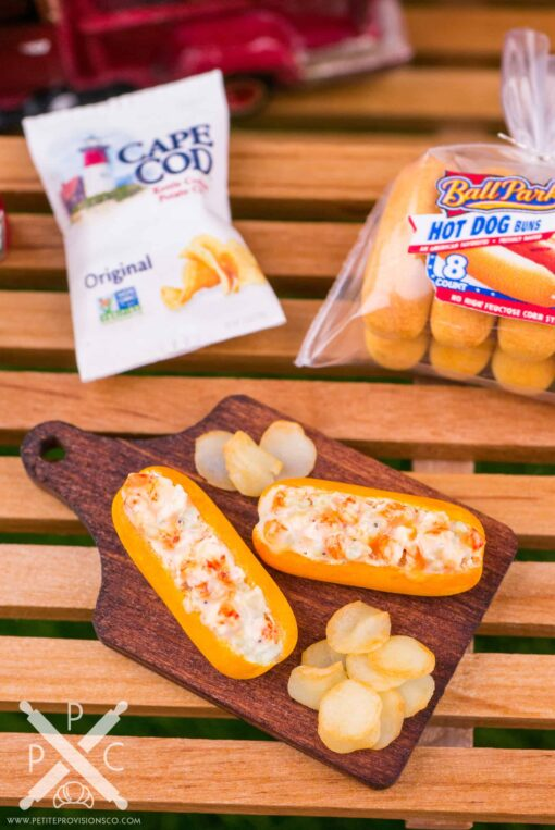 Dollhouse Miniature Lobster Rolls and Potato Chips on Board - 1:12 Dollhouse Miniature Lobster Rolls Set
