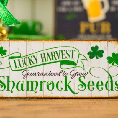 Dollhouse Miniature St. Patrick's Day Lucky Harvest Shamrock Seeds Sign
