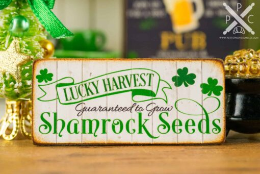 Dollhouse Miniature St. Patrick's Day Lucky Harvest Shamrock Seeds Sign