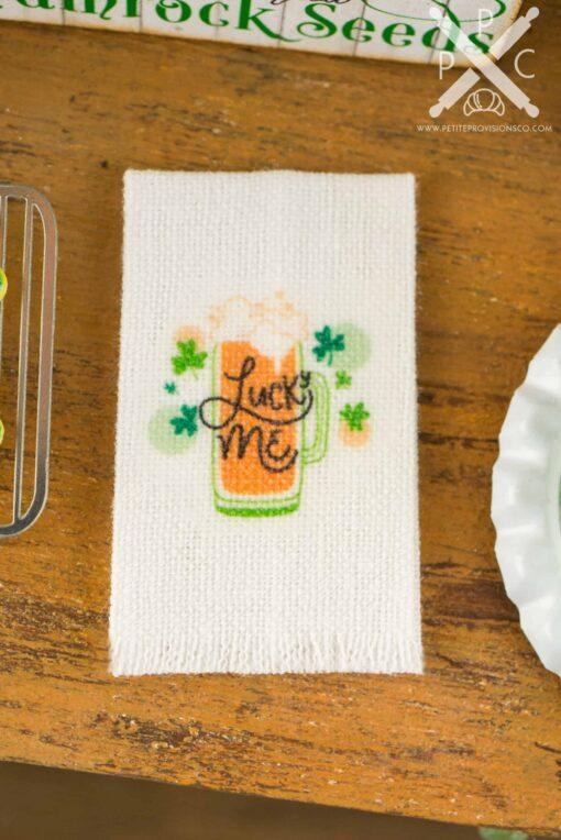 Dollhouse Miniature St. Patrick's Day Lucky Me Tea Towel