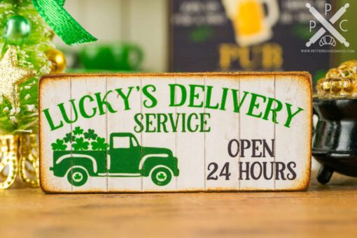 Dollhouse Miniature St. Patrick's Day Lucky's Delivery Service Sign