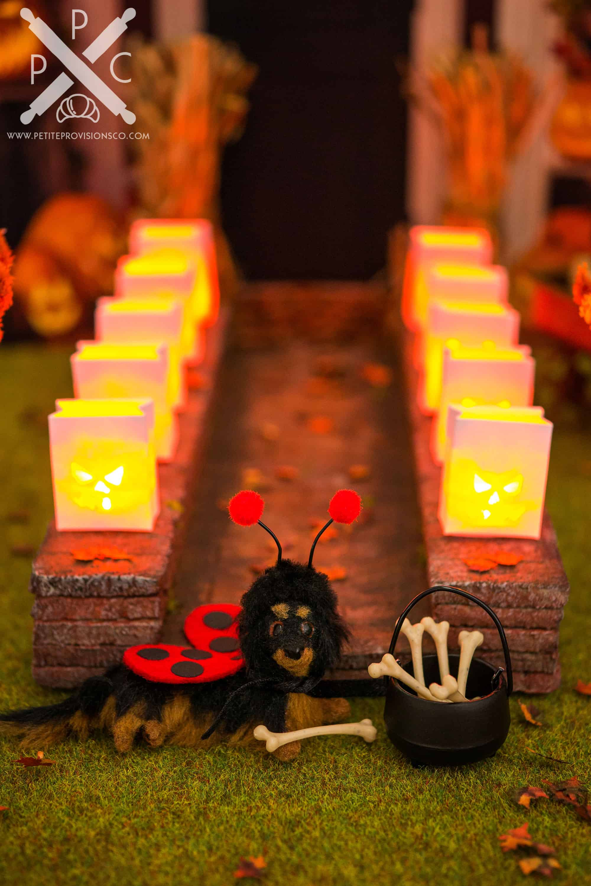 Dollhouse Miniature Halloween Luminarias and Brick Walkway Tutorial by The Petite Provisions Co.
