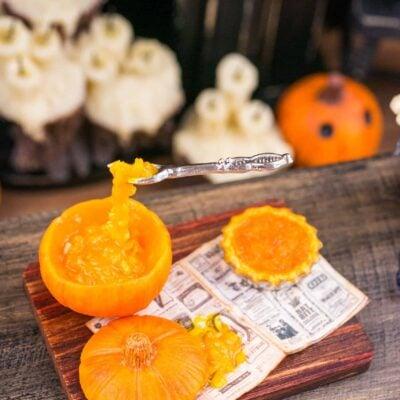 Dollhouse Miniature Magical Halloween Pumpkin Pie Prep Board - 1:12 Dollhouse Miniature Halloween Food
