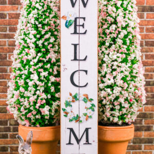 Farmhouse Welcome Porch Sign with Magnolia Wreath