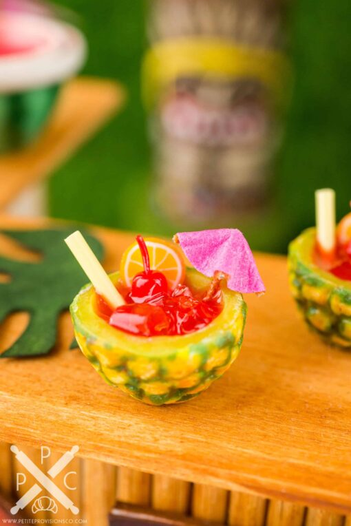 Dollhouse Miniature Mai Tais for Two in Pineapple Cups - 1:12 Dollhouse Miniature Tropical Cocktail