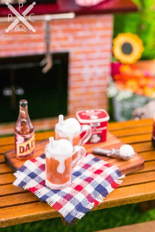 Dollhouse Miniature Making Root Beer Floats Set - 1:12 Dollhouse Miniature Drink Set