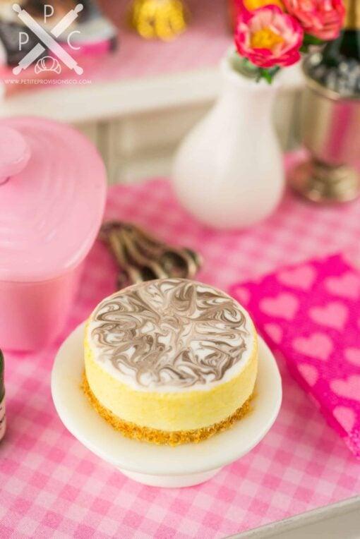 Dollhouse miniature marbled cheesecake