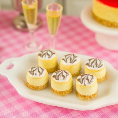 Dollhouse miniature marbled cheesecake bites
