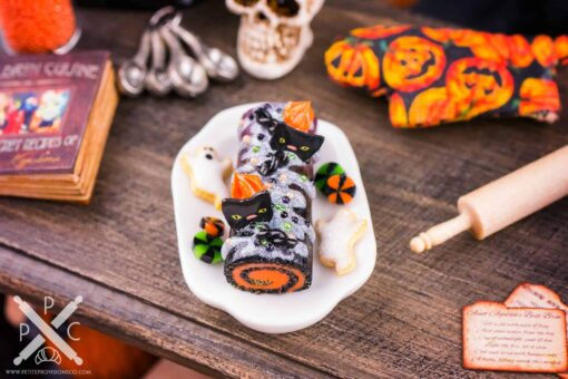 Dollhouse Miniature Marbled Halloween Swiss Roll Cake - 1:12 Dollhouse Miniature - Halloween Miniatures