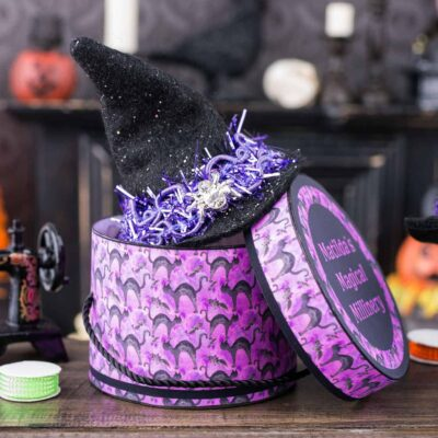 Dollhouse Miniature Matilda's Magical Millinery Witch Hat and Hat Box Set - 1:12 Dollhouse Miniature - Halloween Miniatures