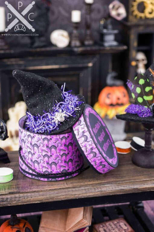 Dollhouse Miniature Matilda's Magical Millinery Witch Hat and Hat Box Set - 1:12 Dollhouse Miniature - Halloween Miniatures