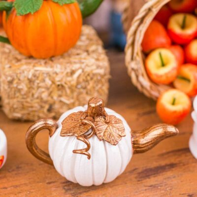 Dollhouse Miniature Metallic White and Bronze Autumn Pumpkin Teapot - 1:12 Dollhouse Miniature - Fall Miniatures