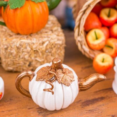 Dollhouse Miniature Metallic White and Bronze Autumn Pumpkin Teapot - 1:12 Dollhouse Miniature - Fall Miniatures