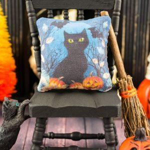 Midnight Cat Halloween Pillow