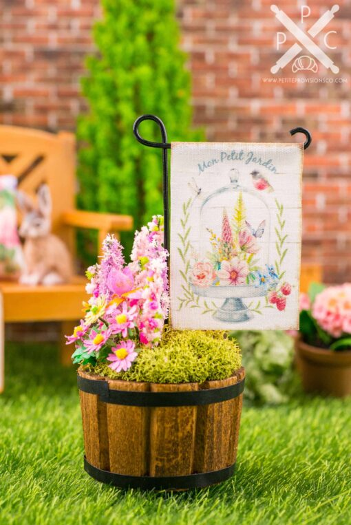 Dollhouse Miniature Mon Petit Jardin Spring Garden Flag - 1:12 Dollhouse Miniature Garden Flag