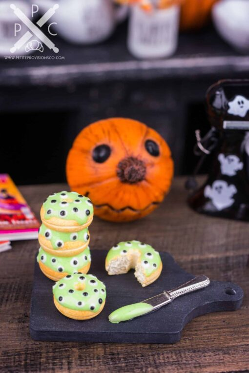 Dollhouse Miniature Halloween Monster Eyes Doughnuts - 1:12 Dollhouse Miniature - Halloween Miniatures