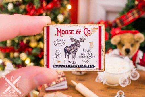 Dollhouse Miniature Moose & Co. Sign - 1:12 Dollhouse Miniature Christmas Sign