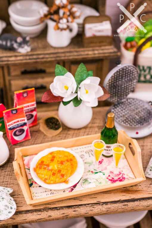 Dollhouse Miniature Mother's Day Breakfast Tray with Waffles and Mimosas - 1:12 Dollhouse Miniature Breakfast Set - Miniature Mother's Day