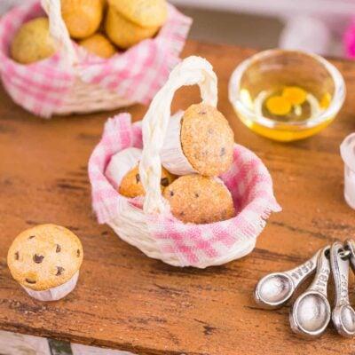Dollhouse Miniature Basket of Muffins - 1:12 Dollhouse Miniature Breakfast