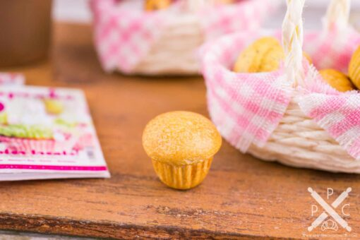 Dollhouse Miniature Basket of Muffins - 1:12 Dollhouse Miniature Breakfast