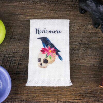 Dollhouse Miniature Nevermore Raven Tea Towel - Halloween Kitchen Towel - 1:12 Dollhouse Miniature Halloween Towel