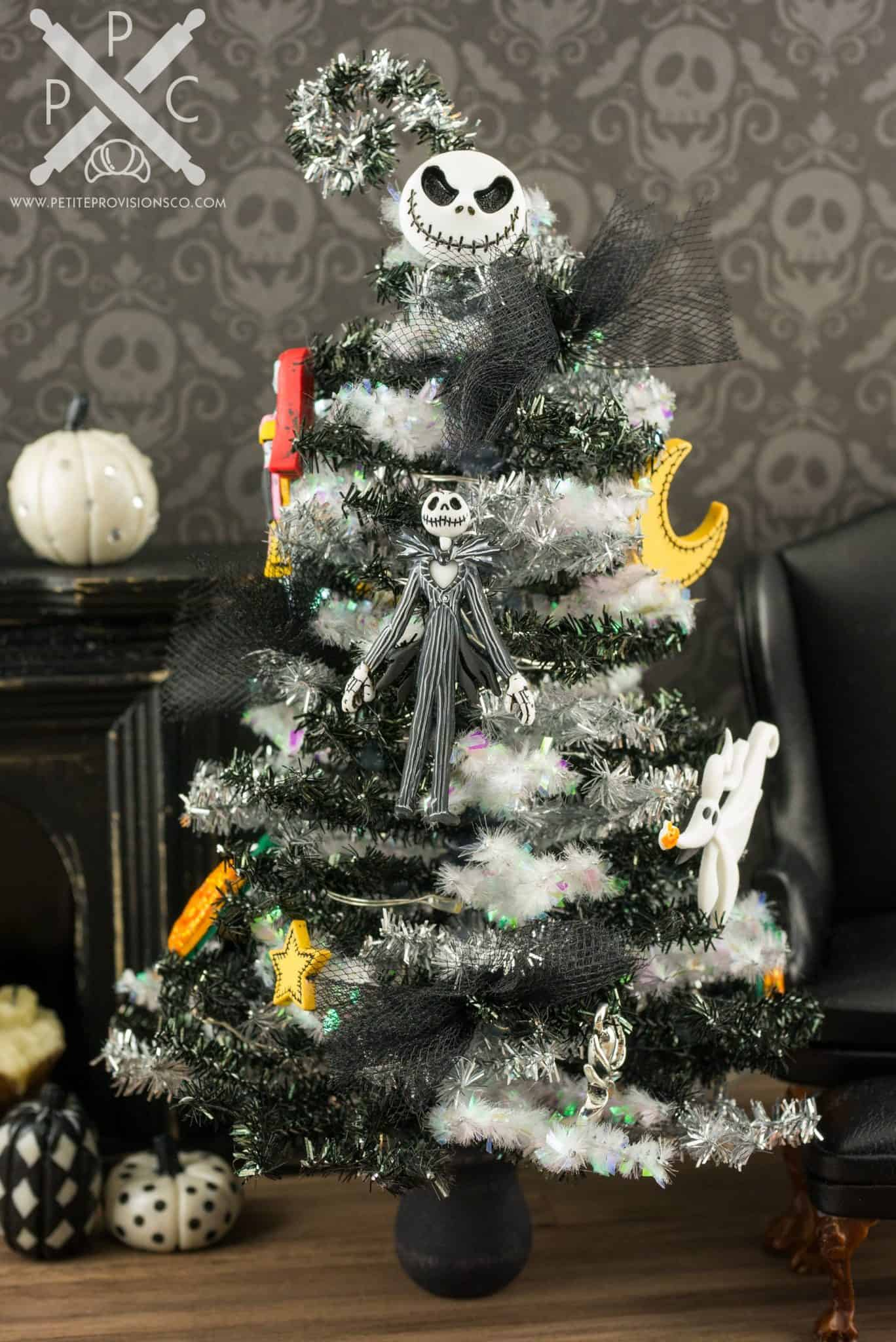 Miniature Nightmare Before Christmas Tinsel Halloween Tree with ...