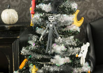 Nightmare Before Christmas Tinsel Halloween Tree with Purple Lights